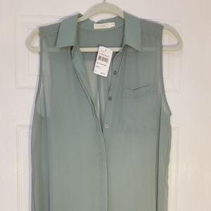 NWT Lush chiffon extra long sleeveless tunic